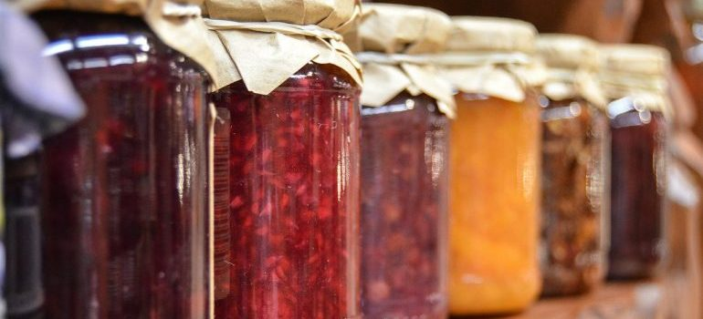 Jars filled with jam.