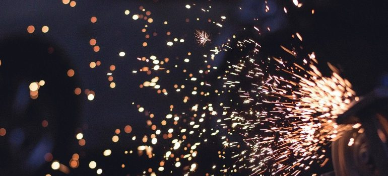 Sparks coming from a metal tool.