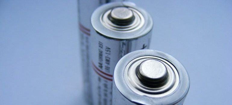 Batteries to take out in order to safely store old electronics.