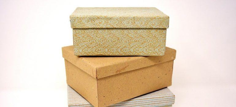 Three cardboard boxes to use for clearing out your self storage container.