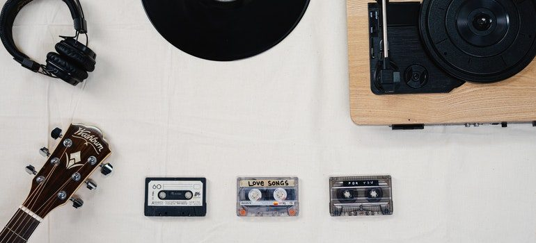 Tapes and vinyls on a desk.
