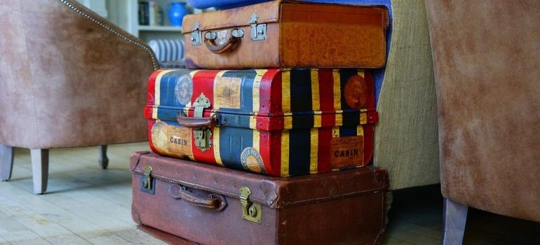 Three suitcases to use as improvised at-home packing supplies.