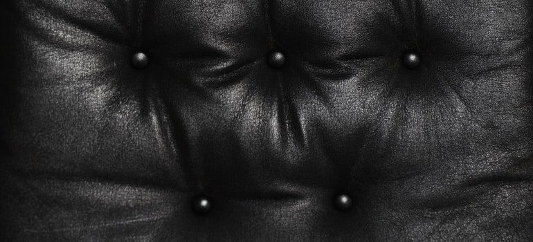 Close up of a leather chair.