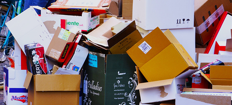 a pile of used boxes