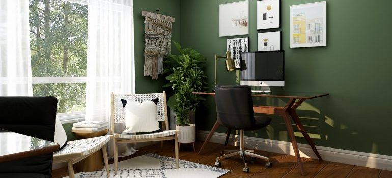 home office in a brightly lit room