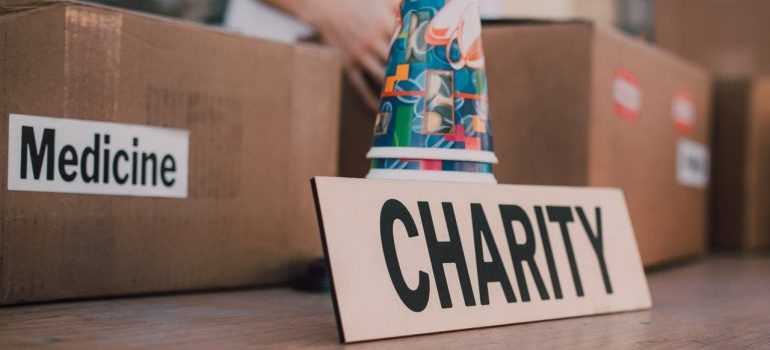 Donate your items after you clean out your self-storage container