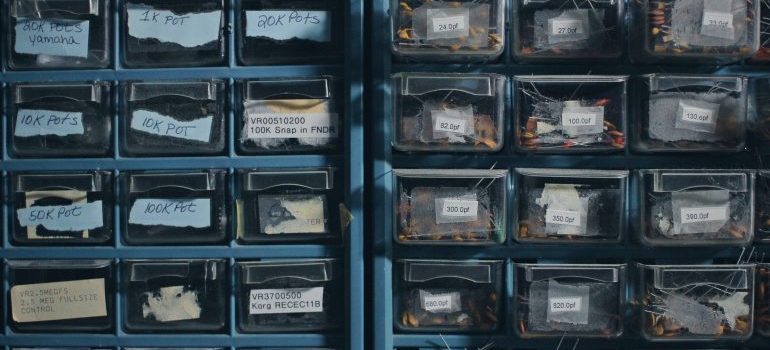 small tools in a organizing cabinet